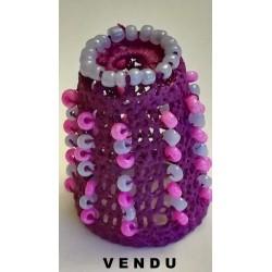 Dé violet perlé vertical