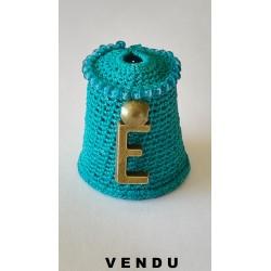 """Dé bleu perlé haut """"lettre E"""""""